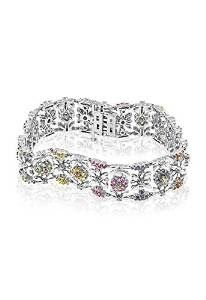 EFFY JEWLERY EFFY 14K WHITE GOLD MULTI SAPPHIRE AND DIAMOND BRACELET, 8.55 TCW