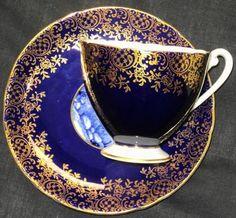 Shelley Royal Blue Ripon Glorious Devon Tea Cup and Saucer Cup And Saucer Set, Tea Cup Saucer, Tea Cups, Blue Cups, China Cups And Saucers, Fun Cup, Chocolate Coffee, Tea Recipes, Vintage Tea