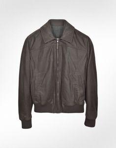 Forzieri Men's Dark Brown Chevrette Motorcycle Jacket