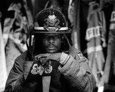 Joe McNally B&W portrait of a firefighter, using 3 lights Firefighter Apparel, Firefighter Workout, Firefighter Family, Firefighter Pictures, Hobby Photography, White Photography, Portrait Photography, Photography Ideas, Fire Bible