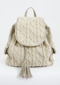 knitted cable bag with tassels