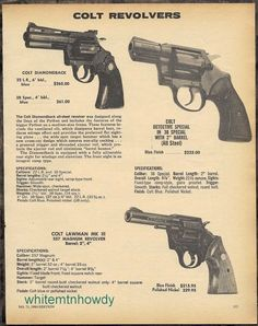 1980 COLT Diamondback, Detective Special, Lawman MK III .357 Magnum Revolver AD #Walther