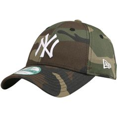 NEW ERA 940 CAMO BASIC CAP ($99) ❤ liked on Polyvore featuring accessories, hats, cap hats, camouflage cap, ny yankees camo hat, camo hats and camouflage yankees hat