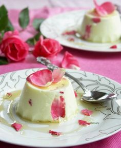 Saffron Yogurt Mousse with Rose Petal Honey