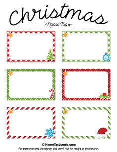 Free printable Christmas name tags. The template can also be used for creating items like labels and place cards. Download the PDF at http://nametagjungle.com/name-tag/christmas/