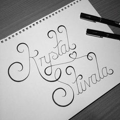'Krystal Stivala' by Caligature™ // #caligature #type #typography #lettering #handlettering #handdrawn #handdrawntype #handtype #calligraphy #drawing #sketch #design #graphicdesign #creative #creativity // © 2014 Calvin Head