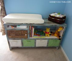 Well, it& been 3 years since the birth of my daughter and I decided to upload some plans for this changing table. Go here to see the updated project plans for the purchase list, material cost, cut sizes and assembly instructions. Then flip back to Diy Furniture Tv Stand, Playroom Furniture, Playroom Decor, Furniture Plans, Kids Furniture, Ikea Nightstand, Diy Storage Shelves, Kids Wood, Suites