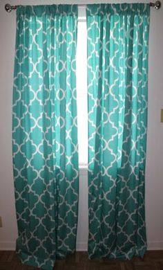 turquoise curtains - PERFECT. Now I just need to find these somewhere...
