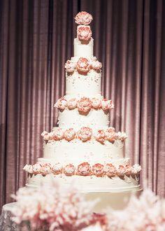 Towering Pink Peonies Wedding Cake by Rosalind Miller Cakes London