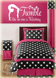 Gymnastics Silhouette vinyl wall art with Tumble like no one is Watching vinyl quote decal sticker (Choose your color) by PersnicketyWallVinyl on Etsy https://www.etsy.com/listing/170156641/gymnastics-silhouette-vinyl-wall-art
