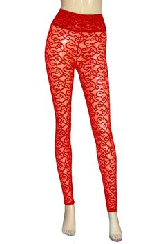 094ec3de7cf91 Lace leggings Sheer red tights Plus size lingerie High rise slim pants Rave  festival bottoms