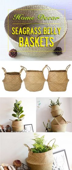 seagrass belly basket for storage or plant pots