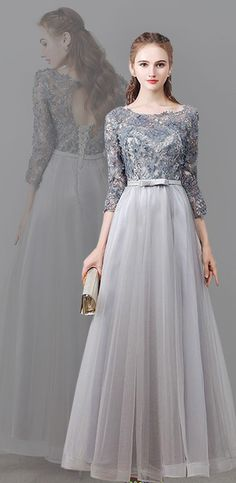 Gray round neck tulle applique tea long prom dress, evening dress, gray tulle bridesmaid dress, wedding party dress