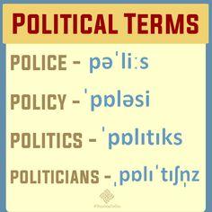 Você sabe a diferença entre police, policy, politics and politicians? E como está a sua pronúncia dessas palavras? O professor Themer Bastos dá a dica para você não se confundir mais. http://thomas.org.br/index.php/pratique-ingles/blog/#political-terms