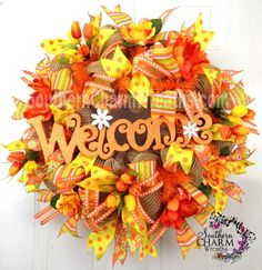 Deco Mesh Burlap SpRiNg WrEaTh Natural Orange Yellow Welcome by www.southerncharmwreaths.com #burlap #spring #wreath