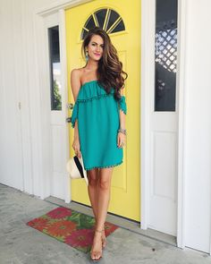 Off The Shoulder Green Pom Pom Dress Source Outfits For Teens, Trendy Outfits, Summer Outfits, Cute Outfits, Fashion Outfits, Summer Dresses, Womens Fashion, Popular Outfits, Style Fashion