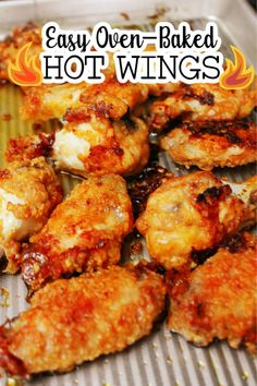 Easy Oven-baked Hot Wings - so delicious and very easy to make with your favorite hot sauce Side Recipes, Easy Dinner Recipes, Easy Meals, Appetizer Sandwiches, Yummy Appetizers, Recipe Form, Friend Recipe, Baked Chicken Wings, Best Chicken Recipes