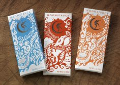 Moonstruck Chocolate. They specialise in handcrafted, exceptional looking chocolate. These are their Single Origin Chocolate Bars with illustrations and typography in a hand-cut paper style and various beautiful foils and finishes.