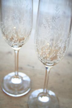 Pair of Hand Engraved Bohemia Crystal by VictoriaLucyDesigns