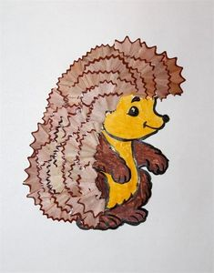 The hedgehog Illustrations Art Drawings For Kids, Cute Drawings, Diy Arts And Crafts, Diy Crafts For Kids, Pencil Crafts, Hedgehog Craft, Pencil Shavings, Classroom Art Projects, Trash Art