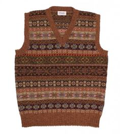 Sleeveless Shetland Wool Fairisle V Neck Pullover - Knitwear - Online Shop - Drakes London Cozy Fashion, Mens Fashion, Tweed Run, Tweed Vest, Fair Isle Knitting, Sock Knitting, Vintage Knitting, Free Knitting, Knit Vest Pattern