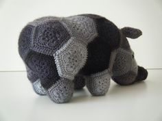 Crochet rhinoceros made out of African Flowers by HandmadebyFieke
