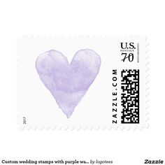 Custom wedding stamps with purple watercolor heart Custom wedding stamps with lavender purple watercolor heart Water color stained love heart symbol postage stamps. Cute handdrawn painting design for elegant wedding party, chic bridal shower, classy engagement, lovely anniversary etc. Perfect for romantic summer beach theme or rustic country chic garden style marriage. Blank print personalize with rsvp, save the date, thank you message, name or monogram of bride and groom. Also as 34 49 70…