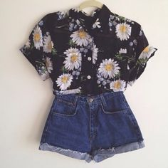 Shirt: flowers black button up daisies blouse denim shorts yellow white flower daisy top button