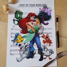 Ursula Doughty Draw Cartoon Characters on Music Sheet.|CutPaste Studio| Art, Artist, Artwork, Illustrations, Entertainment, beautiful,creativity, drawings, Paintings, Music Sheet