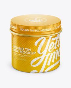 Glossy Round Tin Box Mockup - High-Angle Shot (Preview)
