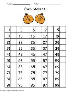 Even Numbers Chart 1-99. Help Even Stevens by filling in all the missing even numbers!