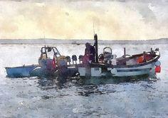 Boats On The River Fal, Cornwall - Trevor Harvey Art