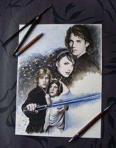 A New Hope - Star Wars Fan Art - Original Watercolor Painting