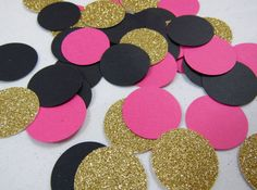 Hot Pink, Black, and Gold Confetti