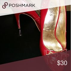 Burgundy, Peep Toe heels May be a 5 inch heel? Guess Shoes Heels