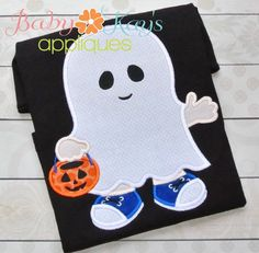 Little Ghost Boy Applique - Go trick or treating with this sweet little boy! He is ready to go with his ghost costume and pumpkin bucket. This is a great applique design for Halloween season.