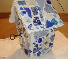 Mosaic birdhouse, china & seaglass