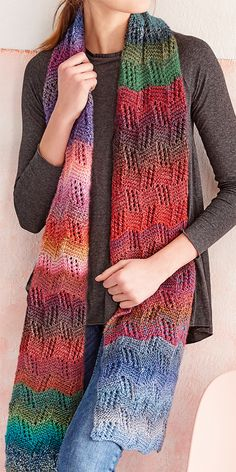 Free Knitting Pattern for Lace Stripe Scarf – Colorful scarf knit in a lace stitch with different colors. Great for stash yarn or mini skeins. Approximately 180 x 25 cm x Designed by Patons UK. Source by velamond - Lace Knitting Patterns, Loom Knitting, Free Knitting, Crochet Scarves, Knit Crochet, Crochet Pattern, Scarf Knit, Lace Scarf, Knitted Afghans