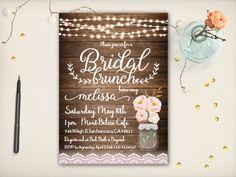 Sweet Floral Bridal Shower Invitation Mason by VintageBellsAndCo