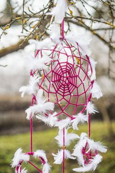 Large Dream catcher, Large purple dream catcher, Wall hanging dreamcatcher, White feathers dream catcher