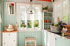 country kitchen, home, cladding, wainscoting, blue, colour, interior, stool, open shelving