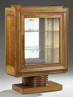 French Art Deco Carved Walnut China Cabinet, early 20th c.