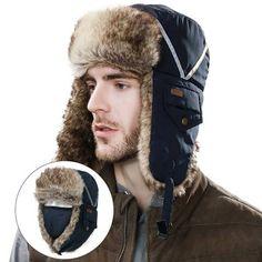 fa892784b5c Rabbit fur bomber hat for men winter outdoor russian ushanka hat