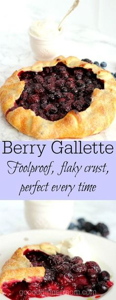 Berry galette is so easy you may never make a traditional pie again. Foolproof, flaky pie crust, use whatever berries you can find. Quick and delicious. Mini Desserts, Easy Desserts, Delicious Desserts, Yummy Food, Plated Desserts, Healthy Desserts, Fruit Recipes, Dessert Recipes, Cooking Recipes