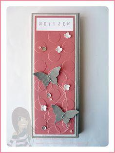 Stampin' Up! rosa Mädchen: Notizblöcke als Swap fürs Teamtreffen mit Schmetterling, Itty Bitty Flower und großen Punkten