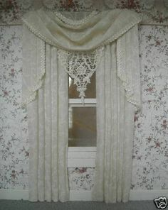 "The curtains measure Wood Valance 4 1/2"" across. Curtains: 7 1/2"" long. The colors are Off White Cream Valance, Off White pattern panels."