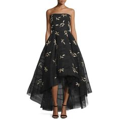 Sachin & Babi Noir Strapless Floral-Appliqu& High-Low Gown ($1,197) ❤ liked on Polyvore featuring dresses, gowns, jet, floral evening dresses, high low evening dresses, high low dresses, strapless dresses and floral high low dress