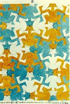 (1936) strongmen motif in tessellation art by M C Escher