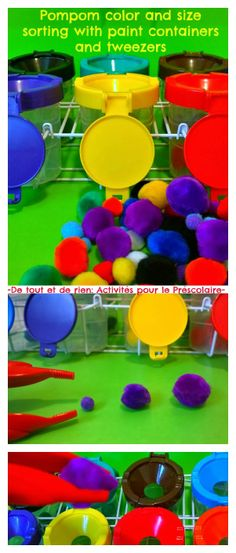 Pompom color and size sorting with tweezers and paint containers: helps tripod grasp and pre-writing skills.