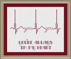 You're always in my heart: EKG cross-stitch pattern